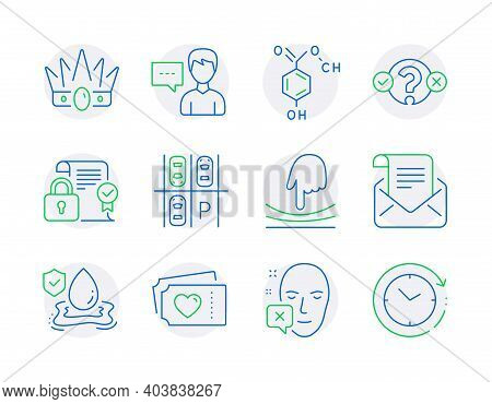 Line Icons Set. Included Icon As Chemical Formula, Quiz Test, Security Contract Signs. Love Tickets,