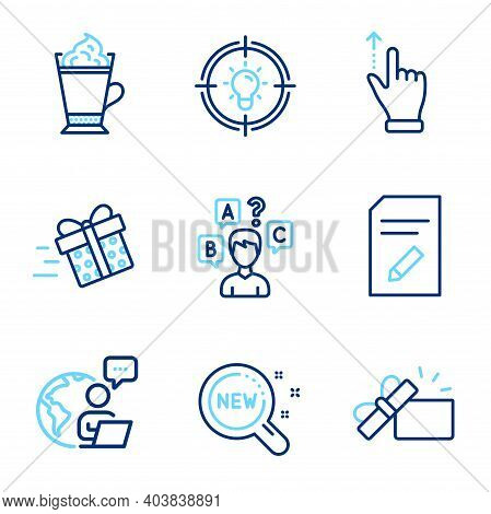 Business Icons Set. Included Icon As New Products, Latte Coffee, Present Delivery Signs. Opened Gift