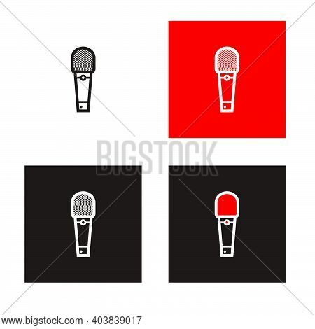 Silhouette , Red And White Broadcasting Microphone For News Anchor, News Live, Television Or Infotai