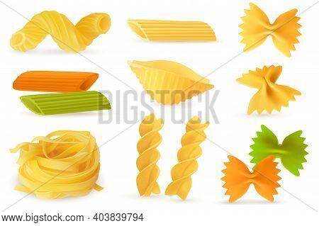 Dry Pasta Objects. Realistic Italian Culinary Ingredients, Different Pasta And Noodles Shapes. Homem