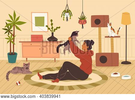Pet At Home. Young Woman With Different Cats At Cozy Home Interior, Smiling Owner With Happy Kittens