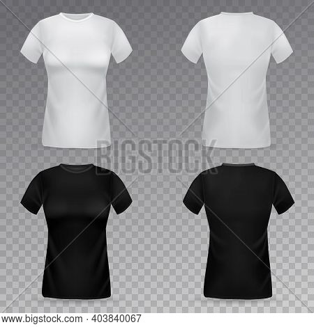 Women T-shirt Mockup. Realistic Black And White Female T-shirts Front And Back View Template, Girls