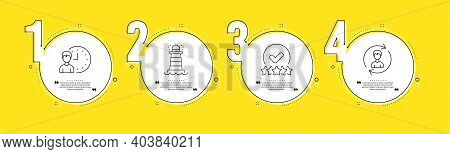 Rating Stars, Working Hours And Lighthouse Line Icons Set. Timeline Process Infograph. Human Resourc