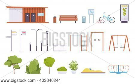 City Park Elements. Public Rest Place Objects, Walking Zone Parts, Lanterns And Benches, Sports Equi