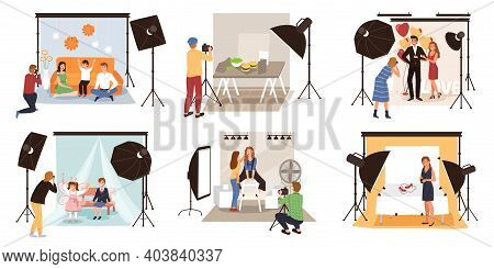 Photo Studio. Photographers Shoot Models In Studios, Fashion Or Romantic, Family With Children And S