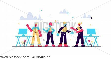 Colleagues In Office Flat Vector Illustration. Coworkers Relaxing