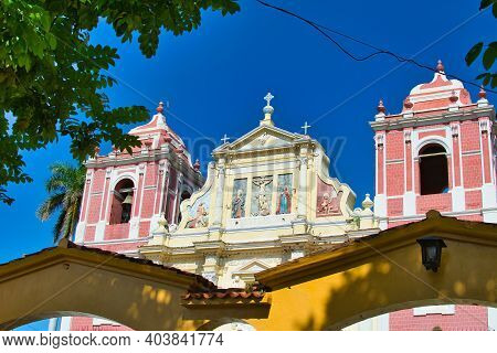 The Baroque El Calvario Church Facade, Located In Leon, Nicaragua