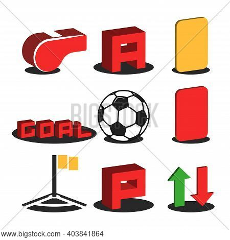 A Set Of 3d Football Isometric Icons For Online Broadcasting Of A Soccer Match: Referee's Whistle, R