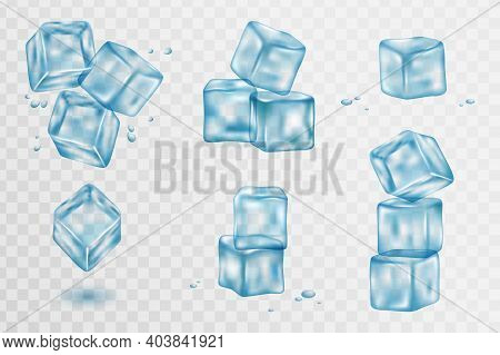 Set Of Transparent Ice Cubes. Ice Cubes, Realistic Set, 3d Vector Illustration. Blue Ice Collection