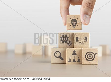 Business Strategy, Business Management Or Business Success Concept. Wooden Blocks With Business Icon