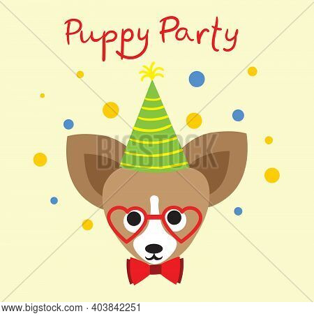 Puppy Party Background. Cute Greeting Card With Presents And Puppy Dog In The Flat Style