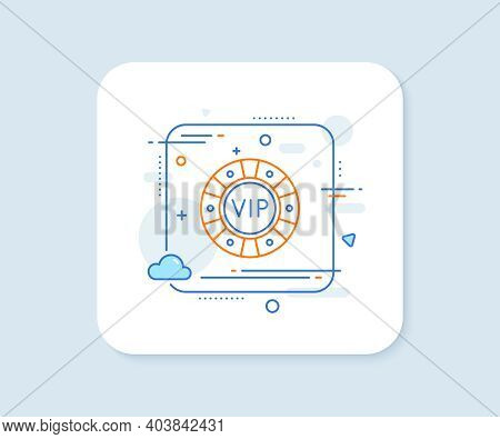 Vip Poker Chip Line Icon. Abstract Square Vector Button. Very Important Person Casino Sign. Member C