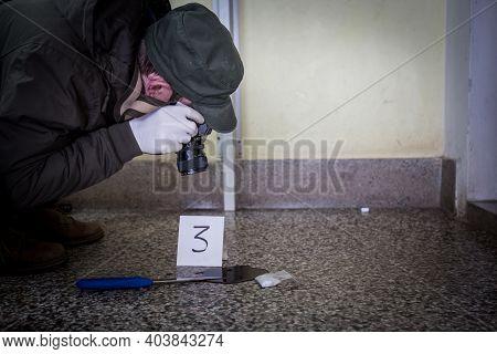 Crime Scene, Murder, Investigation, Bloody Trail On Asphalt, Ongoing Investigation, Camera Expert Ev