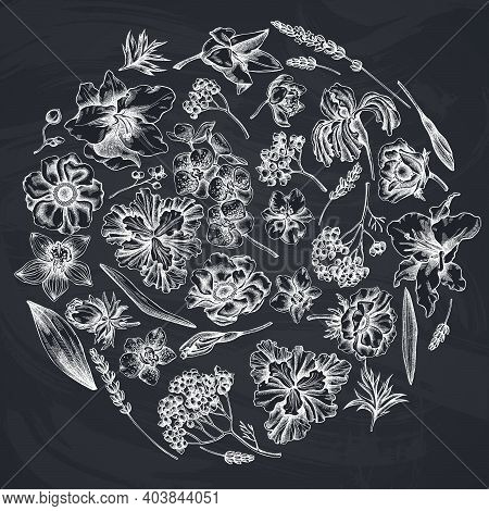 Round Floral Design With Chalk Anemone, Lavender, Rosemary Everlasting, Phalaenopsis, Lily, Iris Sto