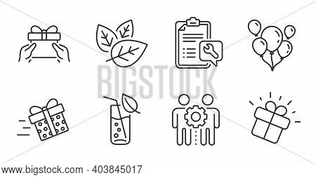 Employees Teamwork, Balloons And Water Glass Line Icons Set. Organic Tested, Present Delivery And Gi