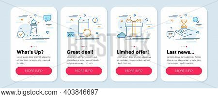 Set Of Line Icons, Such As Gift Box, Lighthouse, Recovery Phone Symbols. Mobile App Mockup Banners.