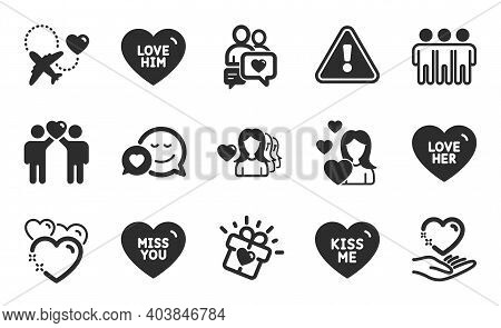 Friends Couple, Love And Miss You Icons Simple Set. Dating, Love Her And Dating Chat Signs. Heart, K