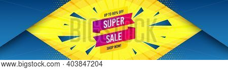 Super Sale Banner. Abstract Background With Offer Message. Discount Sticker Shape. Coupon Tag Icon.