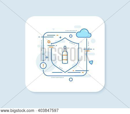 Brandy Bottle Line Icon. Abstract Vector Button. Whiskey Or Scotch Alcohol Sign. Brandy Bottle Line