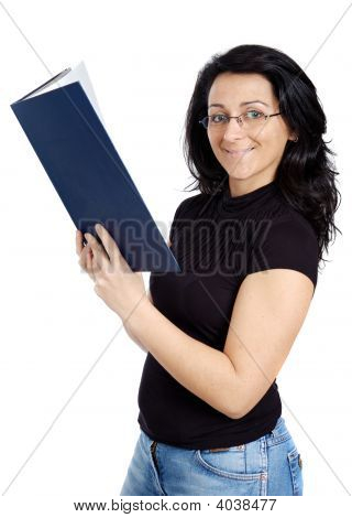 Attractive Lady Reading A Book
