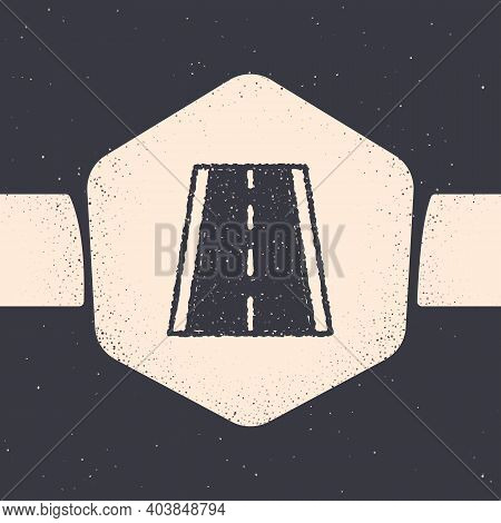 Grunge Special Bicycle Ride On The Bicycle Lane Icon Isolated On Grey Background. Monochrome Vintage