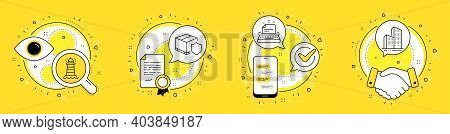 Typewriter, Lighthouse And Delivery Insurance Line Icons Set. Licence, Cell Phone And Deal Vector Ic
