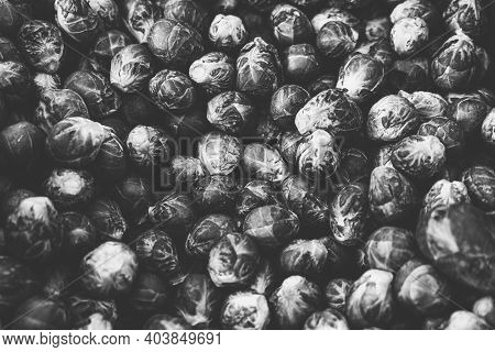 Vintage Black And White Shot Of A Pile Of Brussels Sprouts