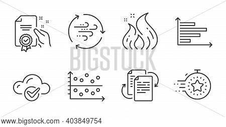 Horizontal Chart, Bureaucracy And Cloud Computing Line Icons Set. Dot Plot, Fire Energy And Certific