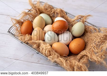 Fresh Eggs From Free Range Chickens On A Small Farm, Beautiful Colorful Eggs From Different Breeds O