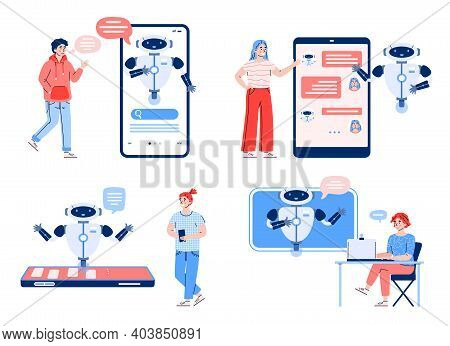 Set Of People Characters Chatting With Chatbot On Various Electronic Devices, Cartoon Vector Illustr