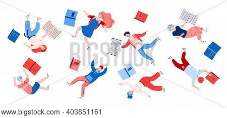 Inspired People Floating With Books. Happy Characters Flying And Moving In Imagination And Dreams In