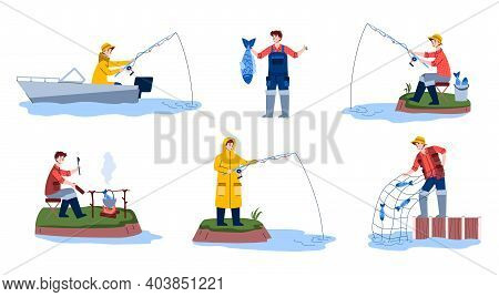 Set Of Scenes Fishing. Fisherman On Boat Or Off Shore With Fishing Rod In Water, Happy Fisher Pulls