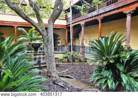 Tenerife, Spain - October 30, 2012: One Of Old Courtyards Listed As Unesco World Heritage Site In La