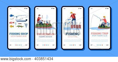Onboarding Mobile App Page Templates For Fishing Shops And Fishery Trips With Cartoon Fishers, Flat
