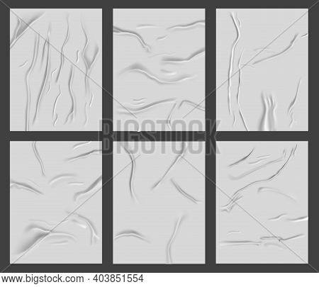 Glued Paper Poster. Realistic Wet Wrinkled Paper Surface, Crumpled Wrinkles Texture Paper Sheets. Wr