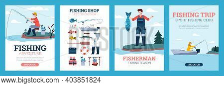 A Set Of Posters With Advertise Of Hobby And Leisure Catch Fish, Trip And Adventure In Fishing Seaso