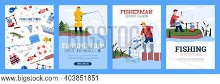 Fishing Sport And Hobby Activity Posters Set With Cartoon Fishers, Flat Vector Illustration. Colorfu