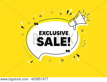 Exclusive Sale. Megaphone Yellow Vector Banner. Special Offer Price Sign. Advertising Discounts Symb