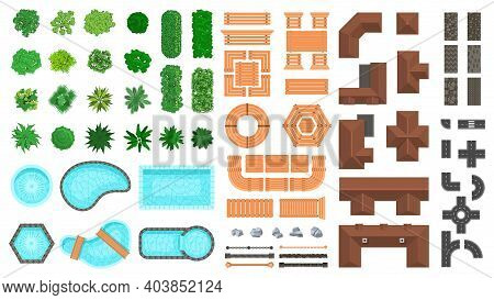 Architectural Landscape Items. Outdoor City Top View Trees, Houses, Roads And Wooden Furniture Vecto
