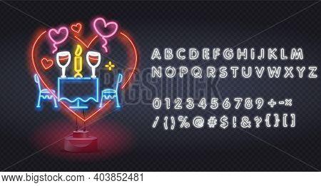 Neon Romantic Dinner. Restaurant Logo, Emblem And Label. Bright Signboard, Romantic Dinner Light Ban