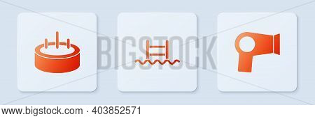 Set Swimming Pool With Ladder, And Hair Dryer. White Square Button. Vector