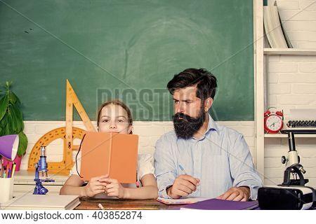 School Teacher And Schoolgirl. Man Bearded Teacher Excellent Pedagogue. Pedagogue Skills. Talented P