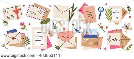 Mail Envelopes. Post Cards, Envelopes, Post Stamps, Craft Paper Letters And Mail Envelopes. Postage