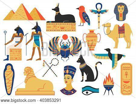 Ancient Egypt Symbols. Mythological Creatures, Egypt Gods, Pyramid And Sacred Animals. Egypt Religio