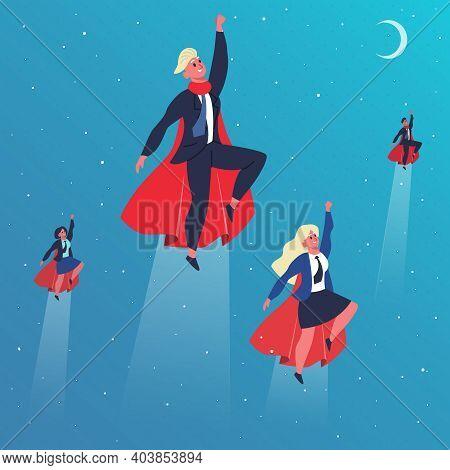 Business Superheroes. Flying Superhero Characters, Superheroes Fly In Action Poses. Superhero Teamwo