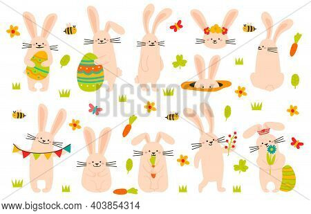 Cute Easter Bunny. Spring Funny Rabbits, Easter Bunny Mascots With Eggs. Holiday Cute Animals Vector