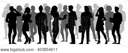 Crowd Silhouette. People Group Shadow Silhouettes, Adult Male And Female Anonymous Characters. Busin