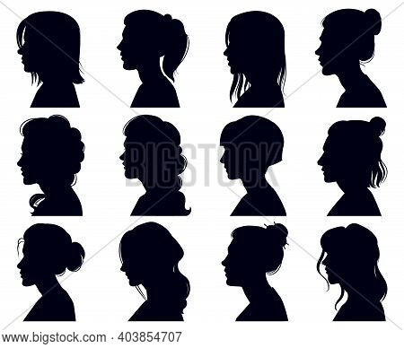 Female Head Silhouette. Women Faces Profile Portraits, Adult Female Anonymous Characters Face Silhou