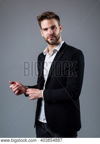 Confident In His Choice. Well Groomed Hairstyle. Male Beauty And Fashion Look. Formal Office Costume