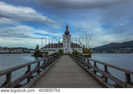 Gmunden, Austria - October 2, 2020. Summer Resort Town In Upper Austria Situated Next To The Lake Tr